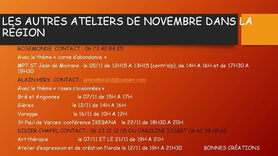 Ateliers de Novembre dans la région donnés par Floriscola