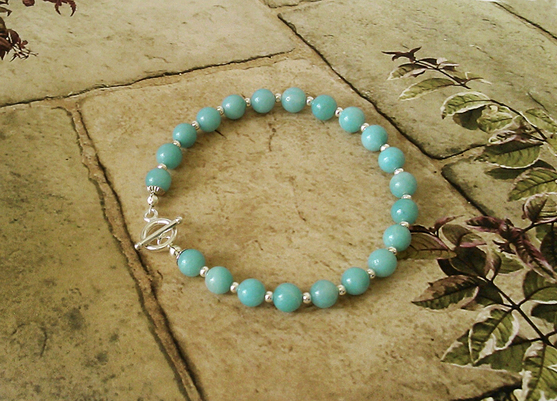 Bracelet Pierre d'Amazonite 21 perles 6 mm / Fermoir Toggle Argent 925