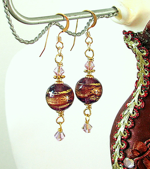 Boucles Verre de Murano authentique Prune Feuille d'Or  24 Kt / Plaqué Or 14 kt Gold Filled