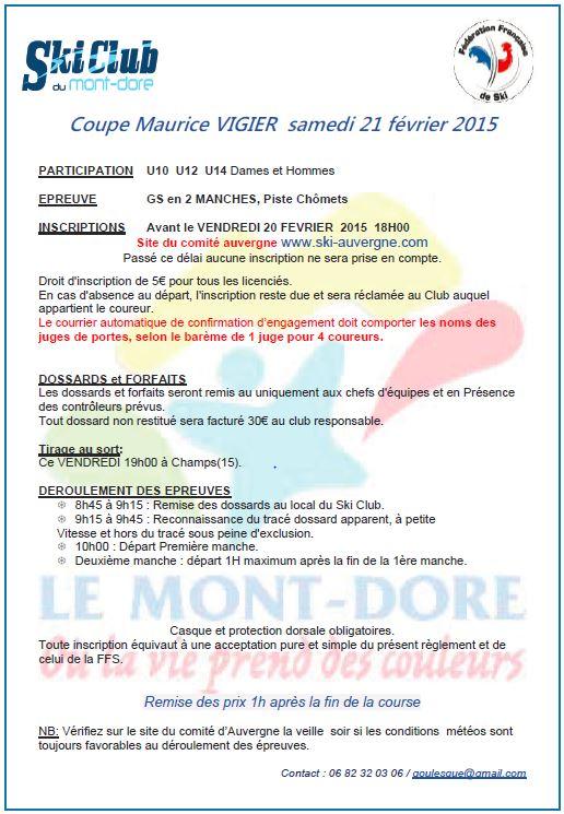 Coupe Maurice Vigier - Samedi 21 février 2015
