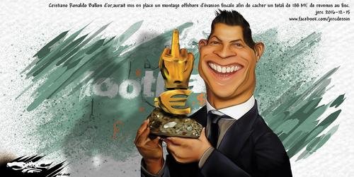 dessin de JERC jeudi 15 décembre 2016 caricature Cristiano Ronaldo Mais où va-t-il planquer son ballon d'or ? www.facebook.com/jercdessin
