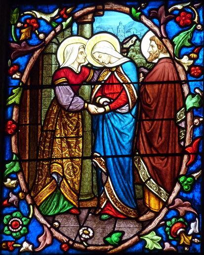 Vitrail dans la cathédrale Saint-Maclou de Pontoise représentant la visitation.