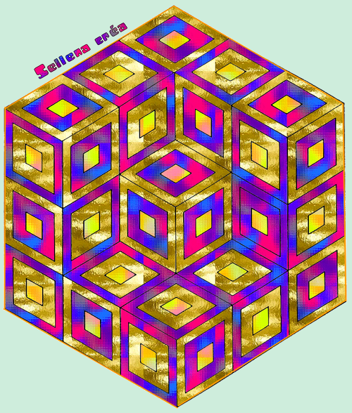 **Cube Vasarely**Coloriage