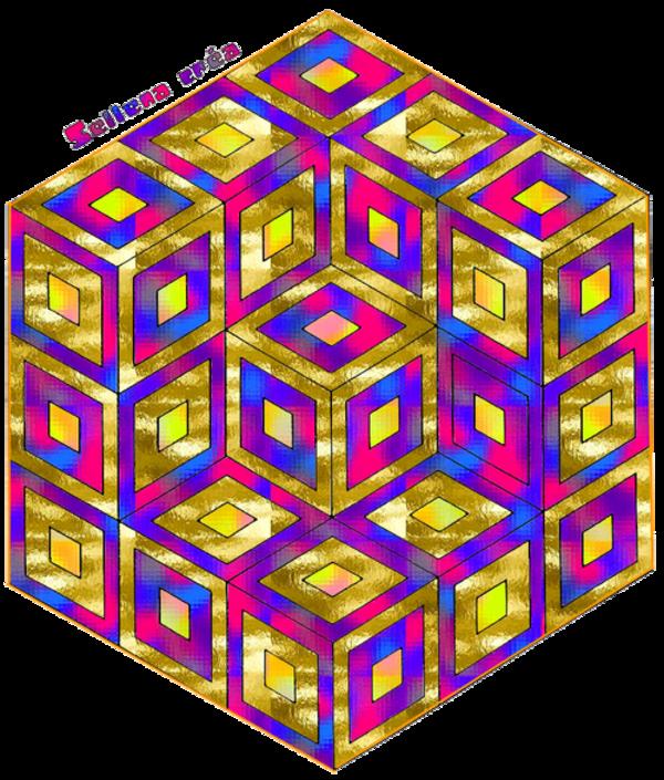 **Cube Vasarely**Coloriage