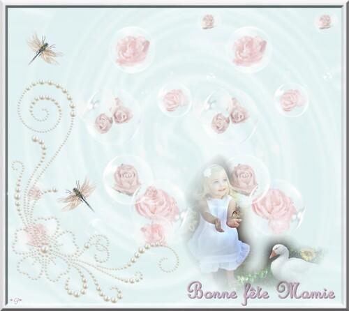Cartes Bonne fête Mamie enfant et Libellules
