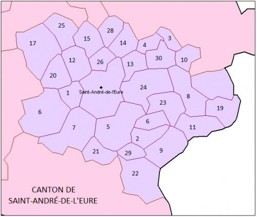 Communes du canton de SAINT-ANDRÉ-DE-L'EURE avec Communauté Locale