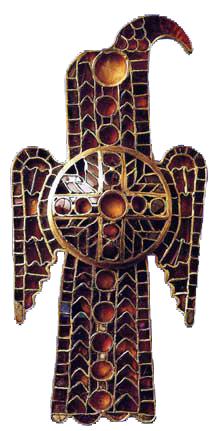 Fibule en forme d'aigle (émaux cloisonnés, vers 550, Bibliothèque de Nuremberg)