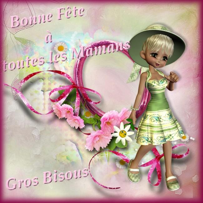 bonne fête des mamans carte fleurs rose et petite fille