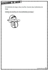 Bonhomme de neige, opération, multiplication, dixmois, ce1 hiver