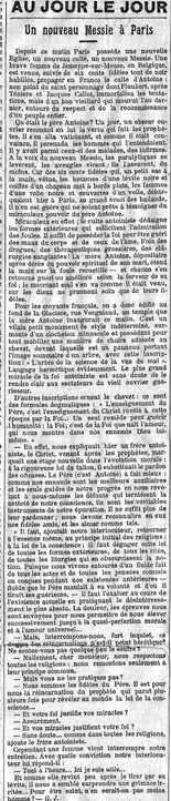 Un nouveau Messie à Paris (Le Temps, 27 octobre 1913)