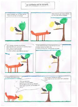 Le corbeau et le renard en bande dessinée.