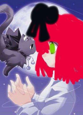 """fille avec un chat nommé """"petit matou"""""""