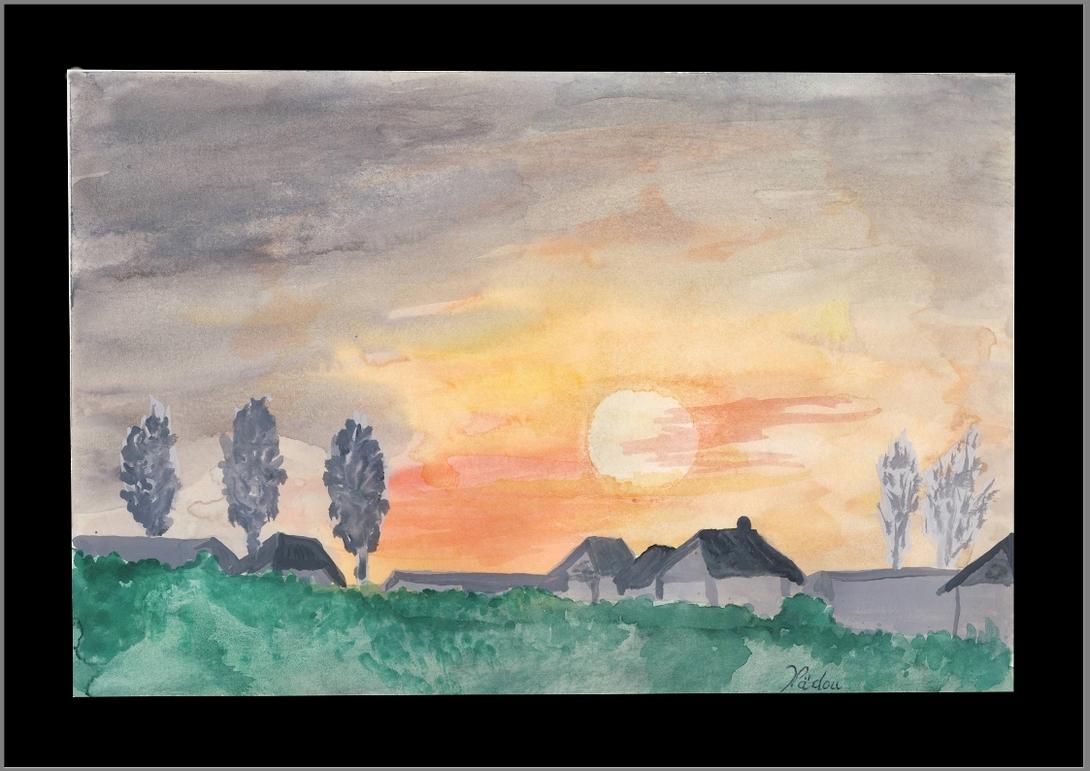 """Aquarelle """"Le coucher de soleil"""" derrière Cournillens à Côté de Courtepin."""