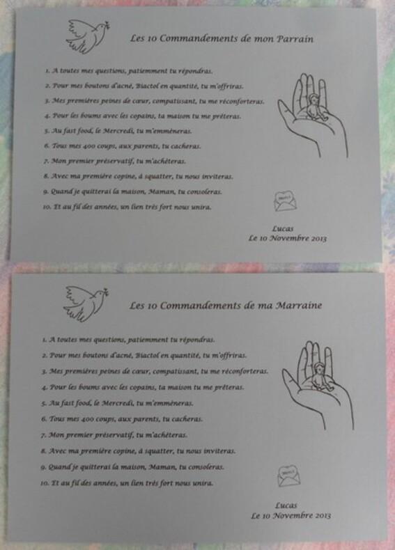 Le baptême de Lucas : les cadeaux Marraine-Parrain