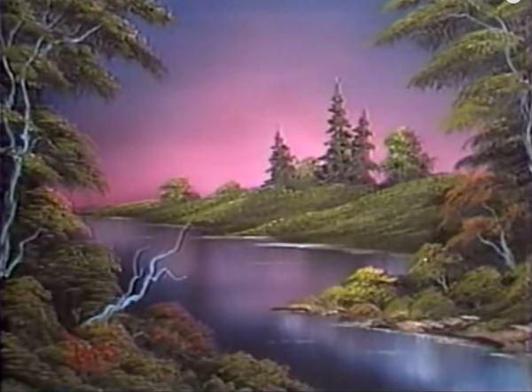 """Dessin et peinture - vidéo 1534 : La rivière au crépuscule par la méthode """"one stroke"""" peinture à l'huile."""