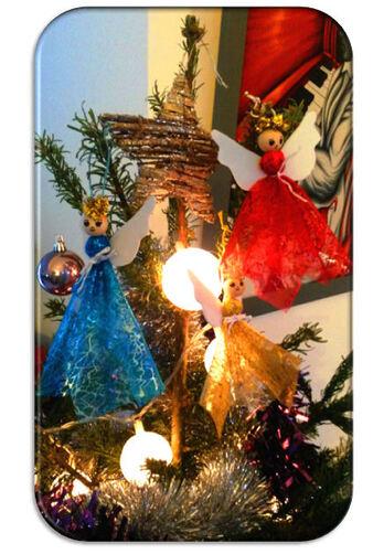 Anges de Noël en tissus et cotillons