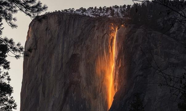 Horsetail Falls, Parc National de Yosemite, chute de feu