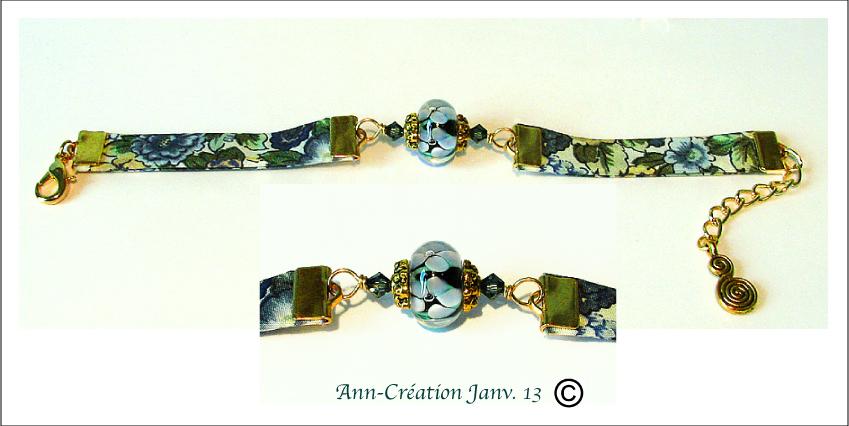 Bracelet Tissu Liberty authentique Bleu N°1 / Verre Lampwork / Métal doré
