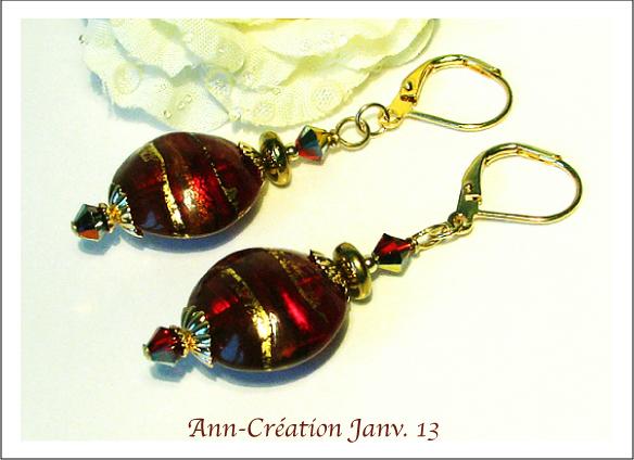 Boucles Dormeuses Verre de Murano Authentique Rouge N° 2 & Feuille d'Or 24 Kt / Plaqué Or