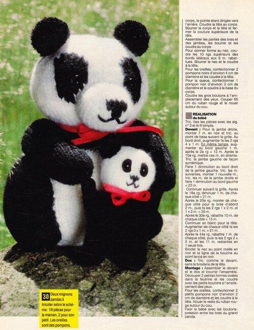 Maman et bébé panda à tricoter
