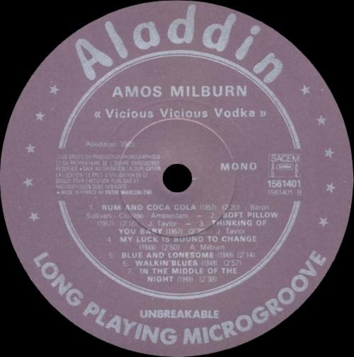 "Amos Milburn : Album "" Vicious Vicious Vodka "" Aladdin Records 1561401 [ FR ]"