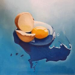 L oeuf bleu 30 x 30 Sylvie Marin-Durand