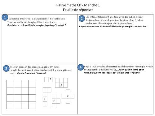 Rallye maths : les feuilles de réponses.
