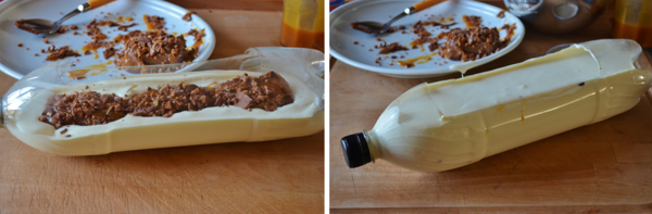 Bûche au lait concentré au coeur mousse chocolat noir, caramel au beurre salé et Daim®