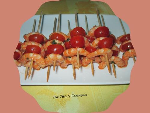Brochettes de crevettes piquantes marinées