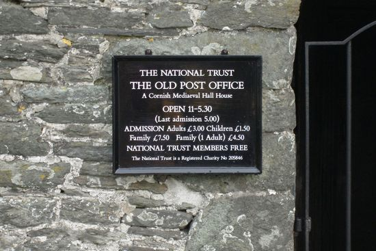 Tintagel Old Post Office (Sign)