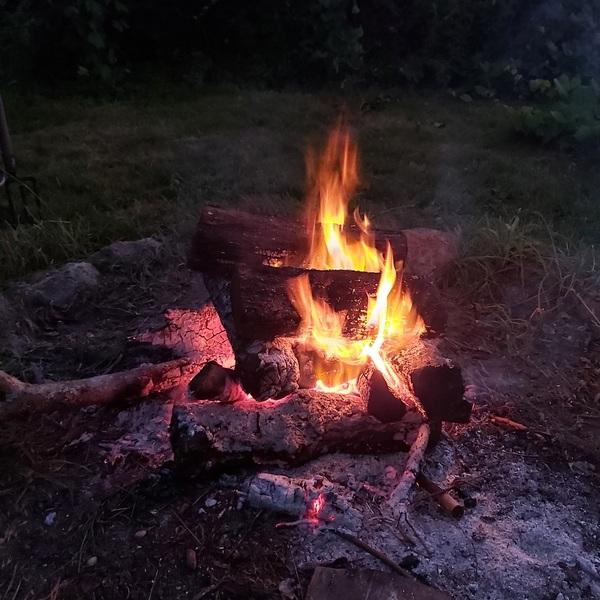 feu de camp et pause