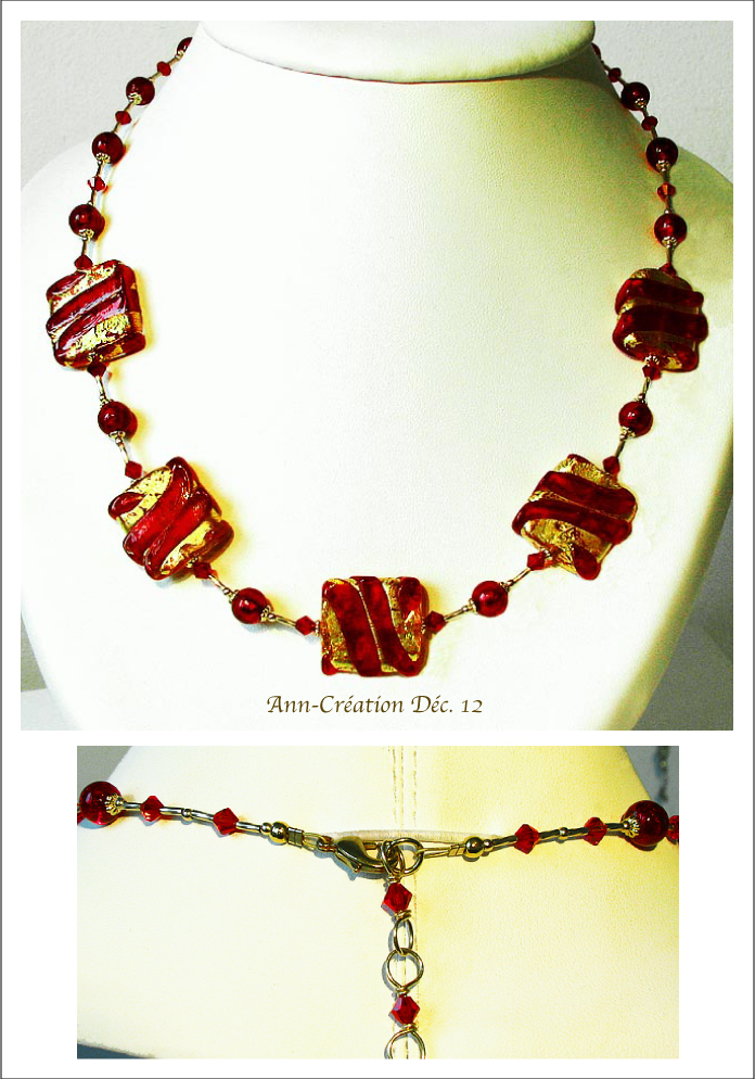 Collier Murano Authentique Rouge et Or / Plaqué Or 14kt Gold Filled et Laiton