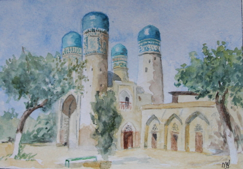 Aquarelle, Boukhara, le Tchor minor