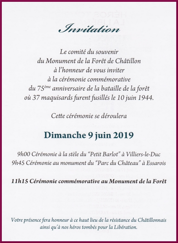 La cérémonie au Monument de la Forêt aura lieu cette année 2019 ledianche 9 juin à 11h15....