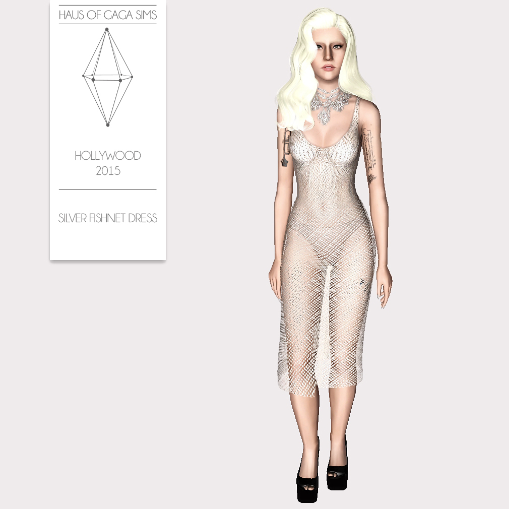 HOLLYWOOD 2015 SILVER FISHNET DRESS