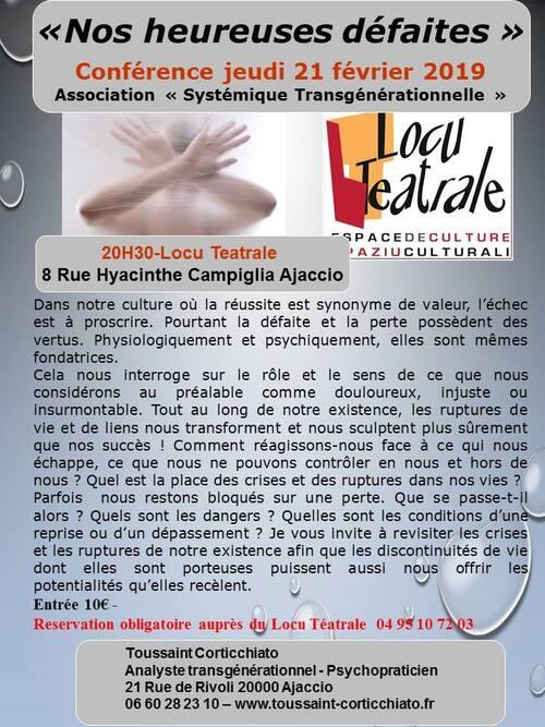 21 Février 2019 à 20h30 - Conférence de Toussaint Corticchiato