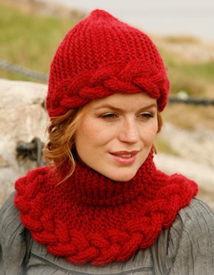 Tricot: bonnet et snood à torsade