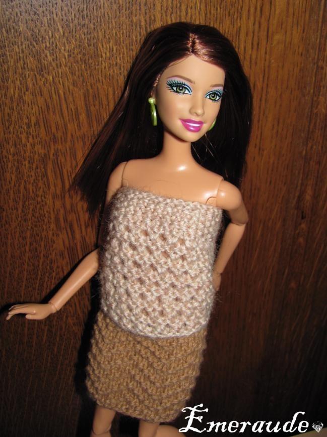 Tricot: Ensemble n°5 (jupe et top) pour Barbie