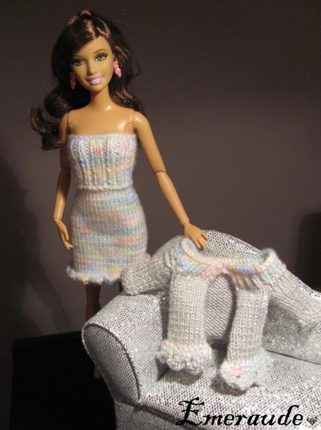 Tricot: Ensemble n°6 (robe et gilet) pour Barbie
