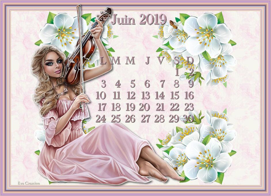 Fond d'ecran calendrier Juin