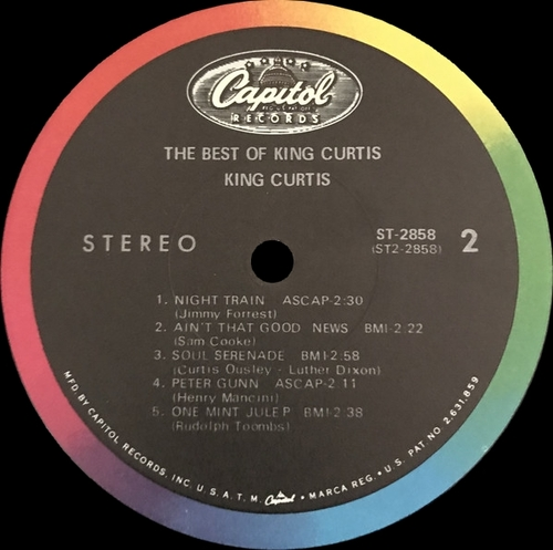 """King Curtis : Album """" The Best Of King Curtis """" Capitol Records ST 2858 [ US ]"""