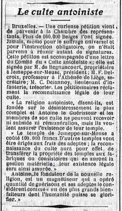 Le culte antoiniste (L'Écho Saumurois 5-6 décembre 1910)