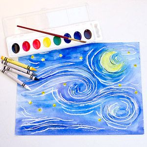 Recreate Five Masterpiece Paintings: Starry Night by Vincent van Gogh (via Parents.com):