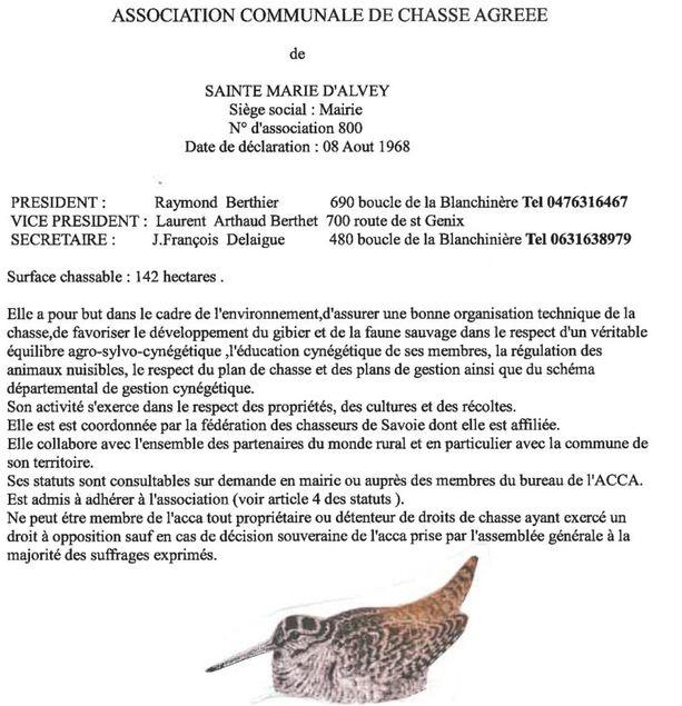 ACCA : Action Communale de Chasse Agrée - Sainte-Marie d'Alvey