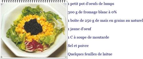 Salade de maïs aux oeufs de lumps