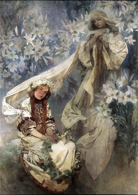 Alphonse Mucha, La Madone aux lys