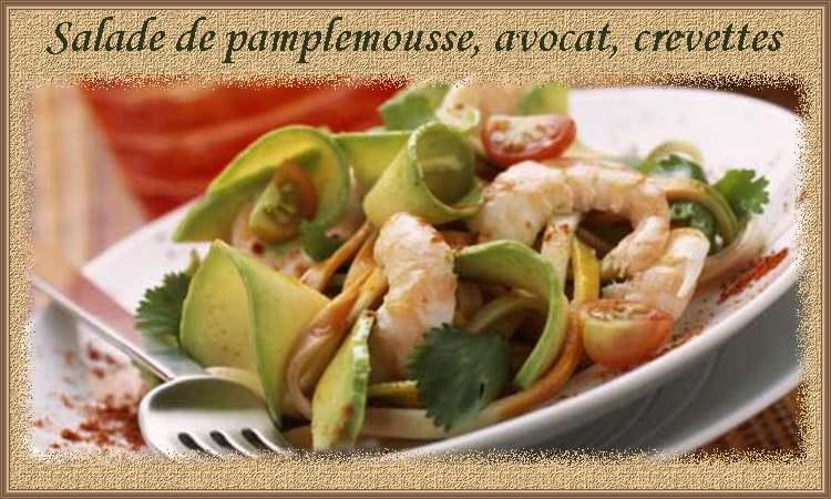 Recette de cuisine : Salade de pamplemousse, avocat et crevettes
