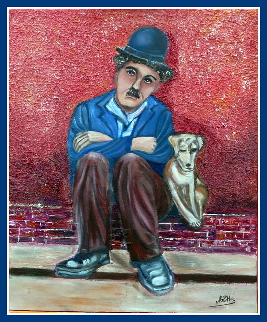 """Peinture """" Charlot dans une vie de chien"""""""