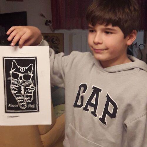 Linogravure, par Max : le chat Plouf
