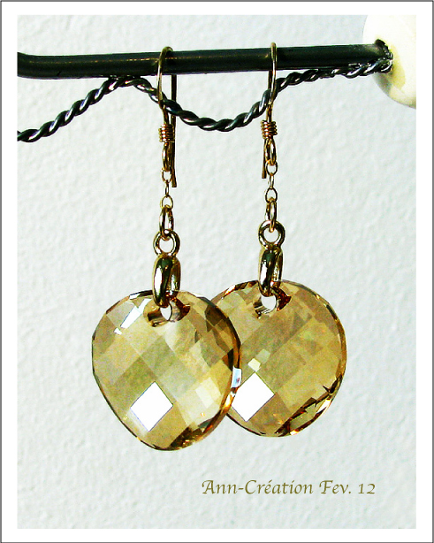 Boucles d'Oreilles Cristal de Swarovski Golden Shadow / Plaqué Or GF 14k